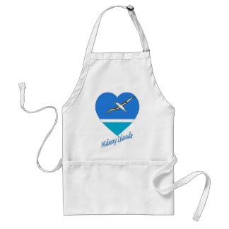 Midway Islands Flag Heart Adult Apron