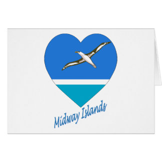 Midway Islands Flag Heart Cards