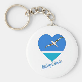 Midway Islands Flag Heart Key Chains