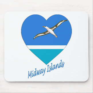 Midway Islands Flag Heart Mouse Pad