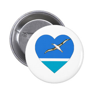 Midway Islands Flag Heart Pinback Buttons