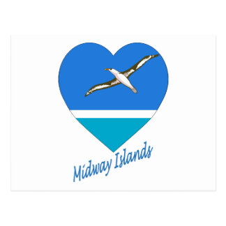 Midway Islands Flag Heart Post Cards