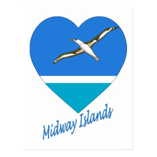 Midway Islands Flag Heart Postcards