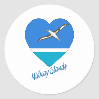 Midway Islands Flag Heart Classic Round Sticker