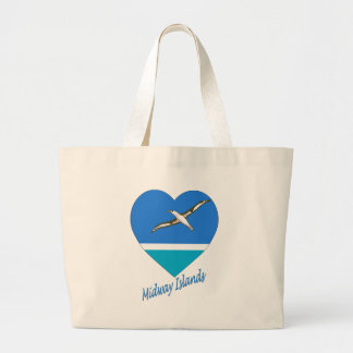 Midway Islands Flag Heart Canvas Bags