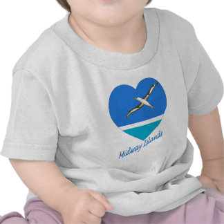 Midway Islands Flag Heart T Shirts