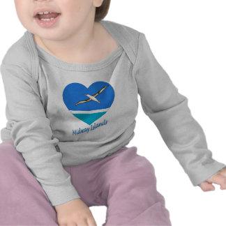 Midway Islands Flag Heart T-shirt