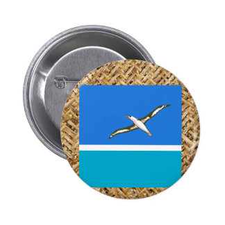 Midway Islands Flag on Textile themed 6 Cm Round Badge