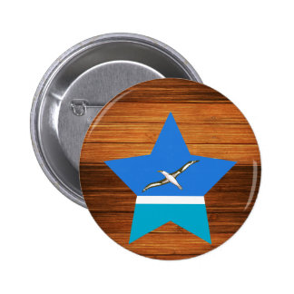 Midway Islands Flag Star on Wood 6 Cm Round Badge