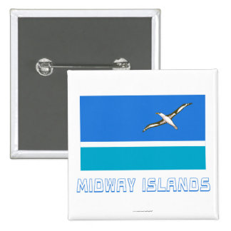 Midway Islands Flag with Name 15 Cm Square Badge