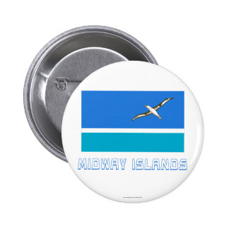 Midway Islands Flag with Name 6 Cm Round Badge