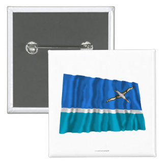 Midway Islands Waving Flag 15 Cm Square Badge