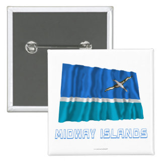 Midway Islands Waving Flag with Name 15 Cm Square Badge