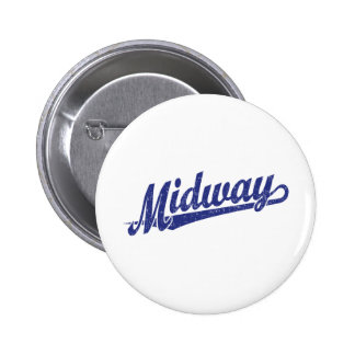 Midway script logo in blue distressed 6 cm round badge