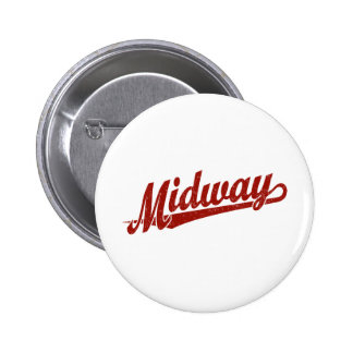 Midway script logo in red distressed 6 cm round badge