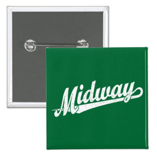 Midway script logo in white distressed 15 cm square badge