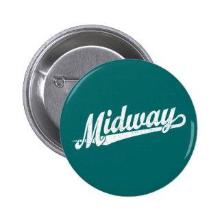 Midway script logo in white distressed 6 cm round badge