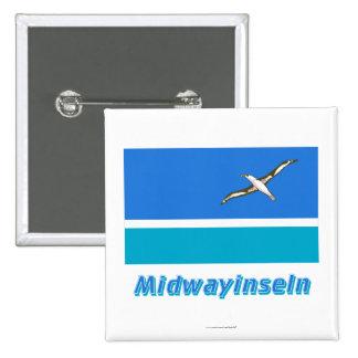 Midwayinseln Flagge mit Namen 15 Cm Square Badge