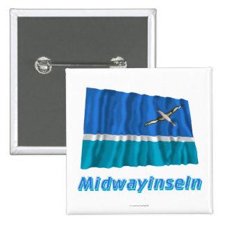 Midwayinseln Fliegende Flagge mit Namen 15 Cm Square Badge