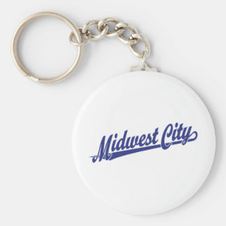 Midwest City script logo in blue Keychains