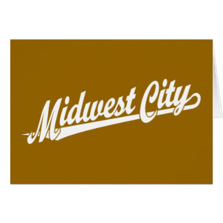 Midwest City script logo in white Greeting Card