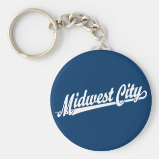 Midwest City script logo in white Key Chains