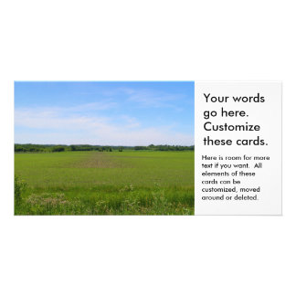 Midwest farmland blue skies crops in field photo customized photo card