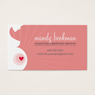 MIDWIFE DOULA CARD pregnant belly heart coral