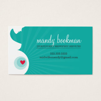 MIDWIFE DOULA CARD pregnant belly heart jade green