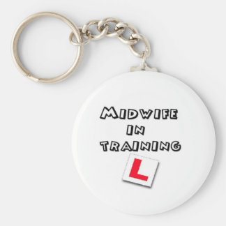 midwife training basic round button key ring