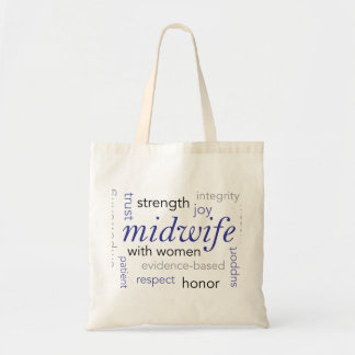 midwife word cloud bag