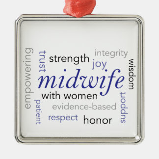 midwife word cloud Silver-Colored square decoration