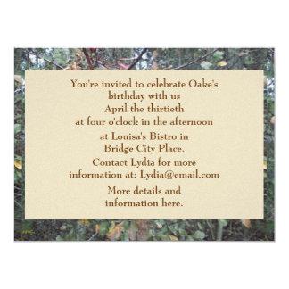 Midwinter Oak & Maple Botanical Birthday Personalized Invitation