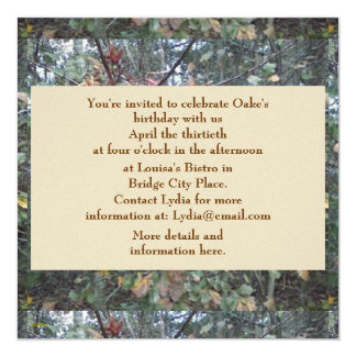 Midwinter Oak & Maple Botanical Birthday 5.25x5.25 Square Paper Invitation Card