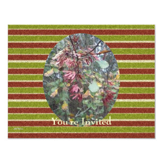 Midwinter Oak & Maple Botanical Birthday Stripes 4.25x5.5 Paper Invitation Card