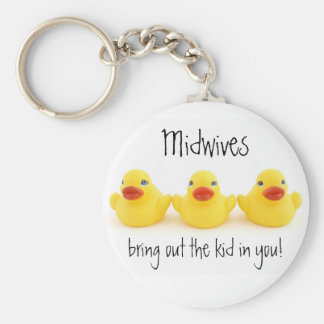 Midwives and Yellow Rubber Ducks Basic Round Button Key Ring