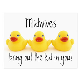 Midwives Kids and Yellow Rubber Ducks Postcard