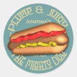 Mighty Dog Hotdog Personalised Round Sticker