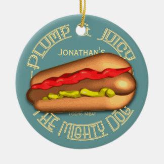 Mighty Dog Hotdog Personalized Christmas Ornament