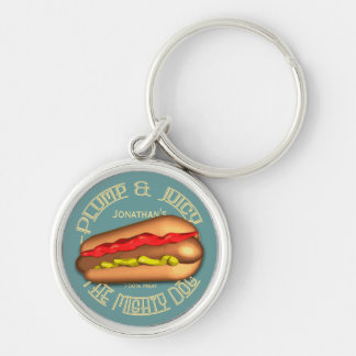 Mighty Dog Hotdog Personalized Silver-Colored Round Key Ring