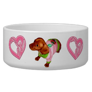 Mighty Mini Dachshund Dish and Bowl