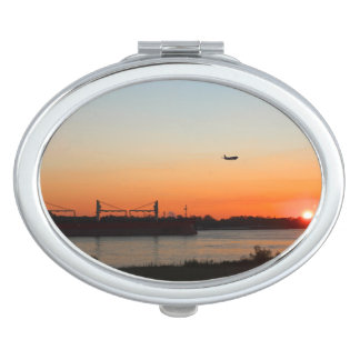 Mighty Mississippi River at Sunset Compact Mirror