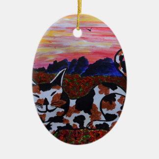 Mighty Moggy in Poppy field Christmas Ornament
