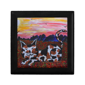 Mighty Moggy in Poppy field Small Square Gift Box