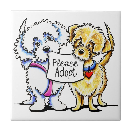 Mighty Mutts Please Adopt Small Square Tile
