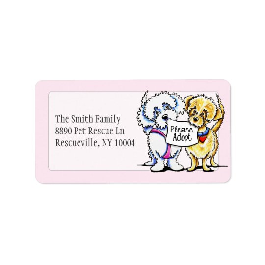 Mighty Mutts Please Adopt Studio Pink Address Label