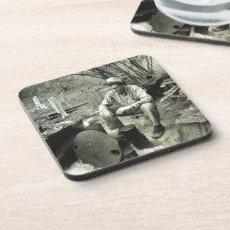Migrant at campfire - 1939 drink coasters