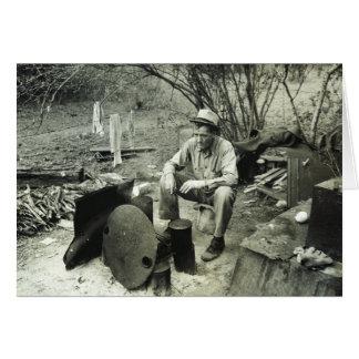 Migrant at campfire - 1939. greeting card