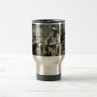 Migrant at campfire - 1939. coffee mug