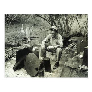 Migrant at campfire - 1939. postcard